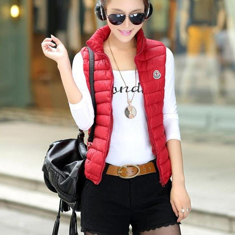 Woman Spring Plus Size Solid Turn-down Collar Zipper Down Waistcoat Female Fall Sleeveless Warm  Lady Down Vest  Down Jackets
