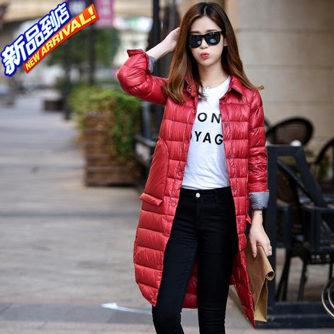 Woman's Ultra Light Extra Long Down Jackets Slim Turn-Down Collar Down Coats White Duck Down Padded Buttons Parkas Woman JK-589