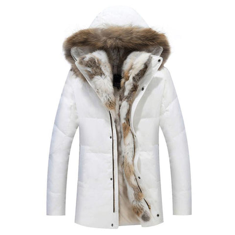 Woman winter Padded Warm Coat White Duck Down Jacket Long Female Real Fur Collar Hooded Overcoat Slim Solid Coat Parkas FP0106
