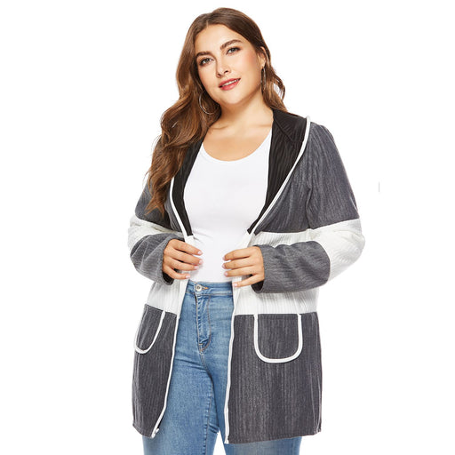 Women Autumn Casual Splice Colorblock Long Hooded Jacket Coat Ladies Long Sleeve Pockets Cardigan Tops Plus Size