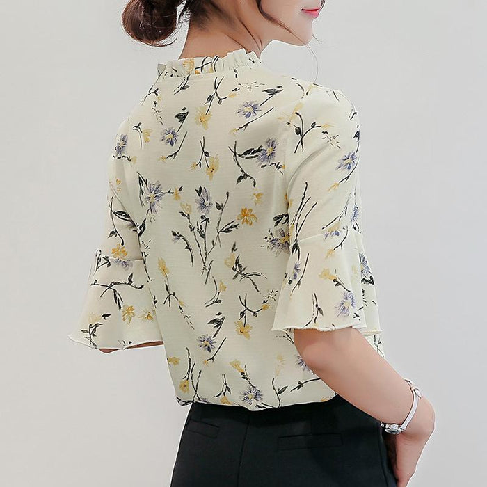 894c659ea2 Women Blouses 2018 Chiffon Print Ruffles Sleeved Blusas Work Shirts For  Womens Elegant Blouses Plus Size