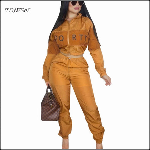 Women Casual Sport 2 Two Piece Set Long Sleeve Turtleneck Zipper Elastic Tight Waist Crop Top Drawstring Trousers Fitness Sets