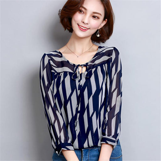 Women Chiffon Blouse Geometric Printed Loose Shirts Summer Blouses Shirt Female Ladies O-Neck Long Sleeve Tops Blusas Femininas