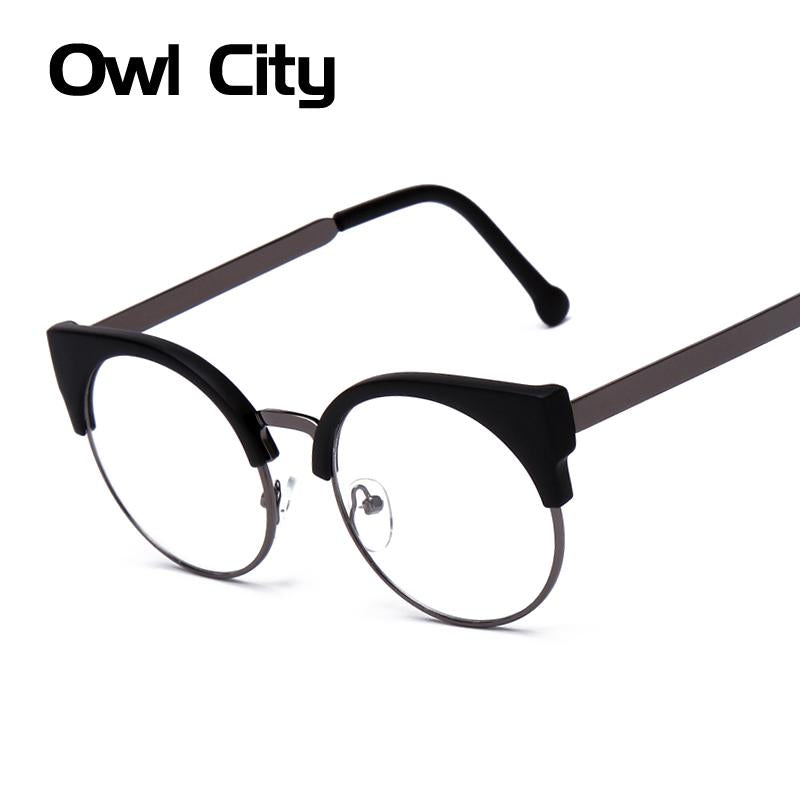 Women Glasses Cat Eye Eyeglasses Vintage Half Frame Metal Eyewear ...