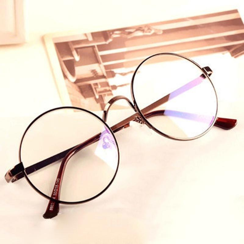 Women Glasses Frame 2017 Plain Mirror Big Round Metal Optical Frame ...