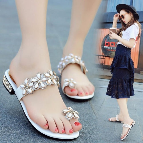 Women Sandals Flat Summer Rhinestone Floral Open
