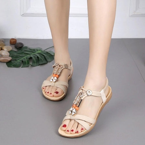Women Sandals Open Toe Elastic Strap Shoes Flip