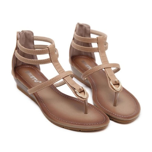 Women Sandals Summer PU Leather Buckle Simple