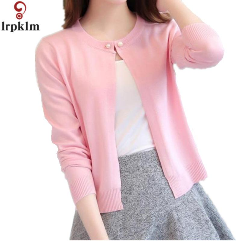Women Slim O Neck Knitted Cardigan Cropped Cardigan Sweaters Ladies Solid  Shrugs For Women Short Cardigans