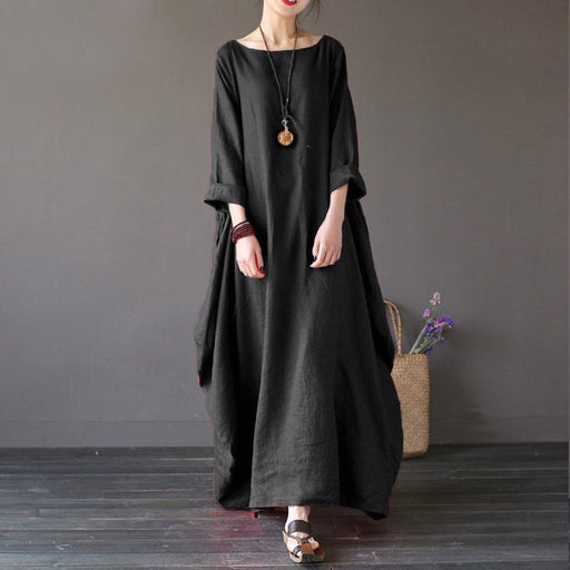 Women Summer Autumn Clothes 3/4 Sleeve Round Neck Casual Loose Beach Sundress Boho Solid Party Cocktail Long Oversize Dress