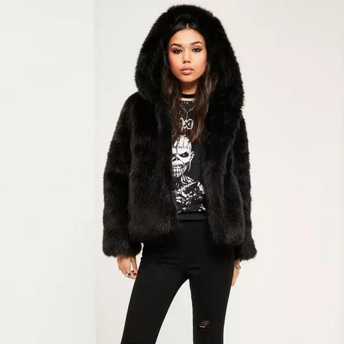 a92715c06a5 Women Winter Hooded Faux Fur Coats Jackets Thicken Warm Outerwear Overcoat  Women Fluffy Fox Fur Jackets