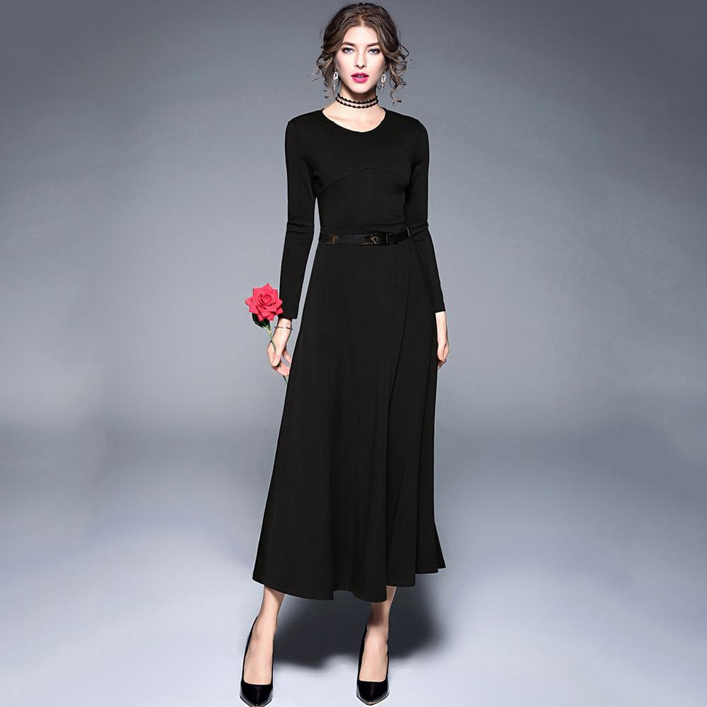 Women\'s Elegant Belted Big Swing Long Dress Slim Long Sleeve O Neck ...