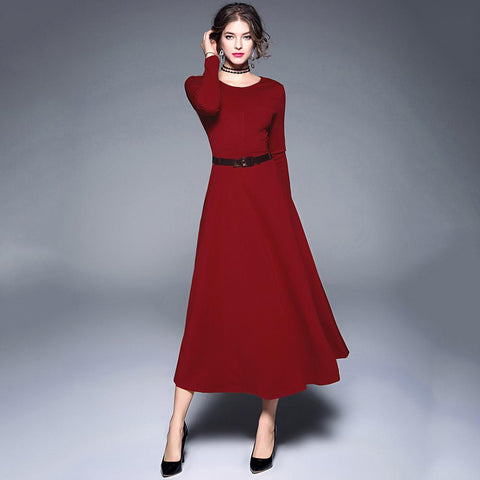Women's Elegant Belted Big Swing Long Dress Slim Long Sleeve O Neck Solid Color High Waist Cocktail Party Dresses 2018 AuraPicco