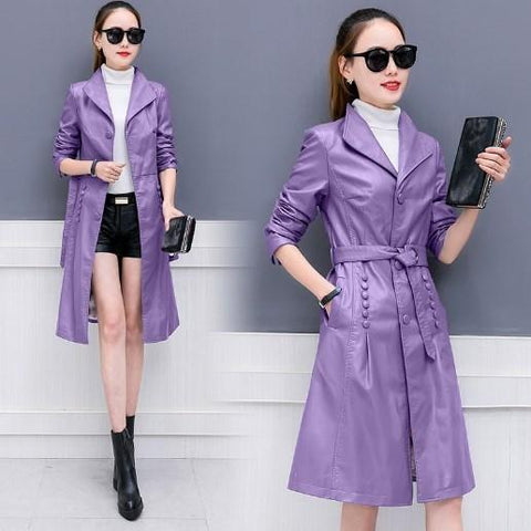 Women's Faux Leather Tunic Jackets Blazer Collar Black Gray Purple Leather Coat Women Slim Fit Long Trench Coat With Sashes XXXL