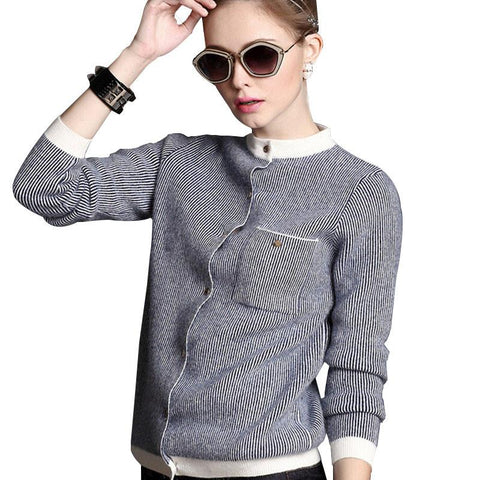 Women's Long Baseball Kitted Cashmere Cardigan Sweater Female Autumn Winter Half Turtleneck Brand New Casual Blue Cardigans 2017