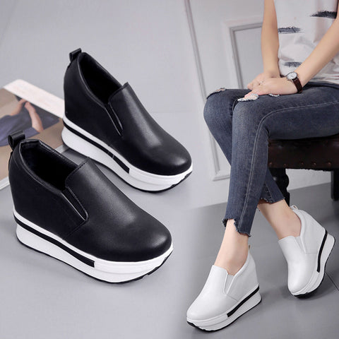 Women's Spring Flatform Shoes Solid Wild Round Toe Casual Shoes