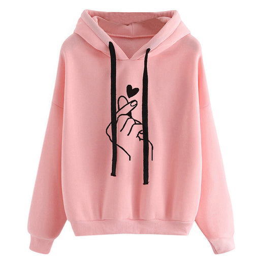 Women's Sweatshirts and Hoodies 2018 Pink Love Print Spring Autumn Pullover Heart Finger Hooded Drawstring Long Sleeve Tracksuit