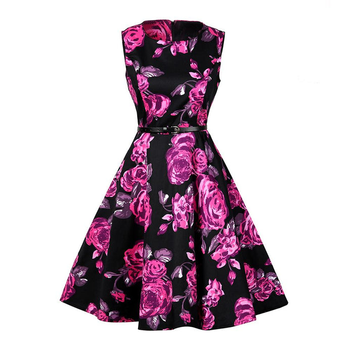 Womens Vintage Dress Sleeveless Summer Elegant 1950s Retro Floral Print Belted Party Office Casual