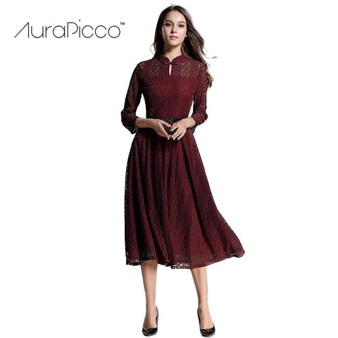 Women's Vintage Hollow Lace Midi Dress Retro Stand Collar Three Quarter Belted A-Line Cocktail Party Dresses 2018 New AuraPicco