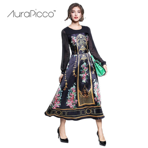 Women's Vintage Palace Print Runway Dress Retro Long Sleeve Mid-Calf Swing Cocktail Party Dresses 2018 New Arrival AuraPicco