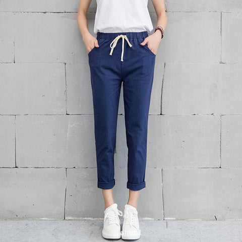 Womens Fashion Brief Women Harem Pant Lady Chic Female Trousers Trendy Solid Regular Casual Drawstring Mid Waist Females Pants