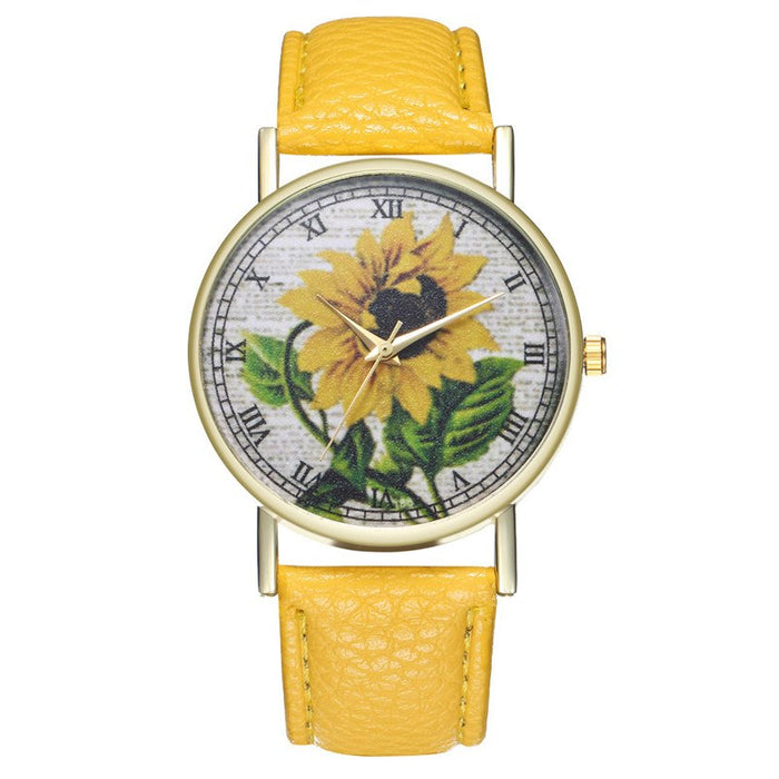 Womens Watches Faux Leather Quartz Wristwatches Sunflower Pattern Dress Clock For Dropshipping montre femme relogio 5N