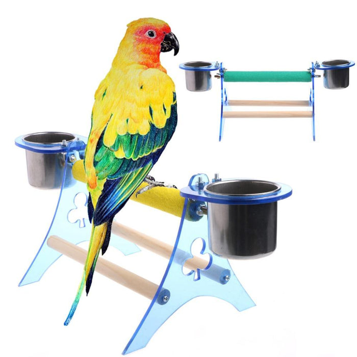 Wooden+Acrylic bird decorative cage Parrot Perch Stand Platform Play Fun  Toys Pet Wooden Playstand Cup For Bird Cage 2017