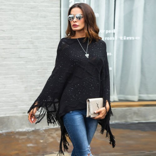 Wool Cotton Tassel Poncho Cape Shawl Blouse Jacket Boho Bohemian Knit Winter Top Loose Casual Blouse Fashion Women Clothing