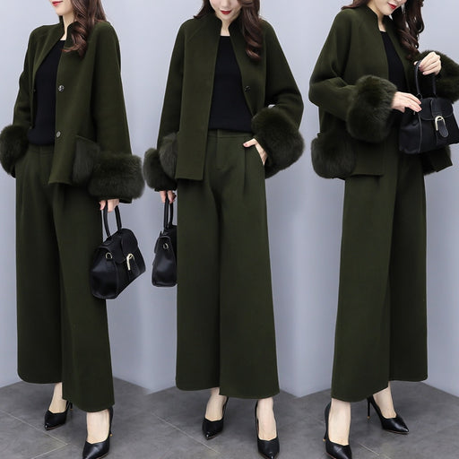 Woolen Wide Leg Pants Woman Suit Two Piece Set Fashionable Conjunto Feminino Year-old Female Costume Ensemble Femme Deux Pieces