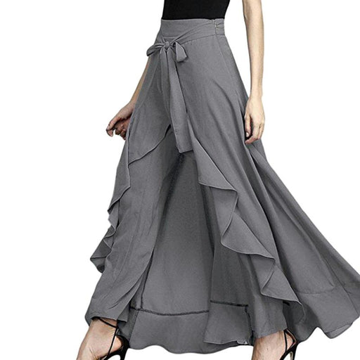 Wrap Skirts Women Fashion Navy Chiffon Tie-Waist Ruffle Wide Leg Loose Pants
