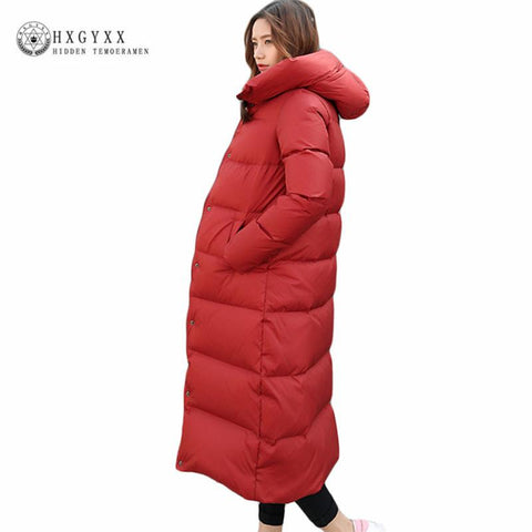 X-Long Warm White Duck Down Jacket Ladies Down Coats 2017 New Woman Hooded Thick Parka Plus Size Solid Puffer Outerwear Okb94