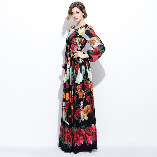 XF New 2018 Spring And Summer High Fashion Designer Bohemia Long Dress Women'S Round Neck Silk Rose + Dog Print Dress