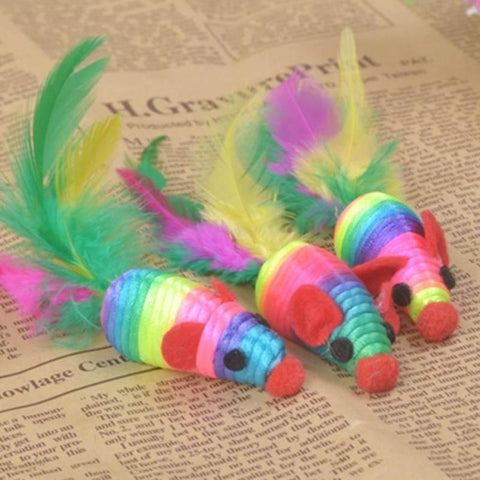 XIAXIANG 1pc Mouse Cat Toys with Feather Tail Cat Mint Pet Cat training Interactive Toys Cat Supplies #15