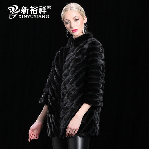 XIN YUXIANG China Real Mink Fur coat Women Genuine Leather natural Fur Russia winter warm Jacket 2018 New High quality Clothes