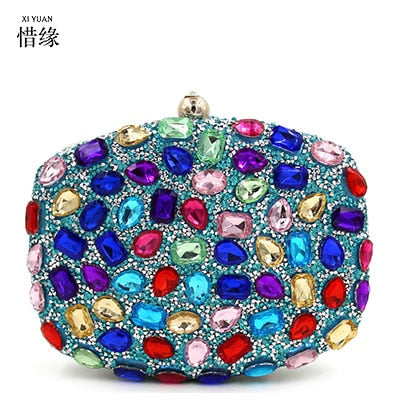 XIYUAN BRAND womens newest blue Diamonds Clutch Bag ladies Evening Bag  Diamond Studded Handbags Women Bridal 9a44115ccb38