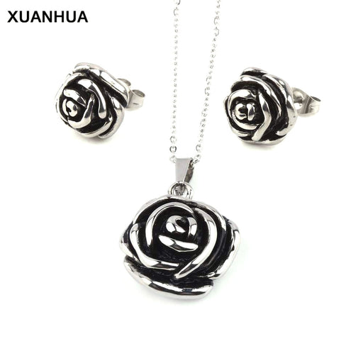 XUANHUA Wholesale Stainless Steel Flower Wedding Jewelry Sets For Women Rose Turkish Dubai Jewelry Sets African Jewelry Sets