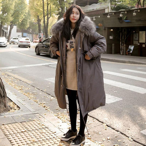 08de86a8438 YAMY Womens Winter Thick Parkas Fashion oversized long Coat with Fur collar  long sleeve luxury warm