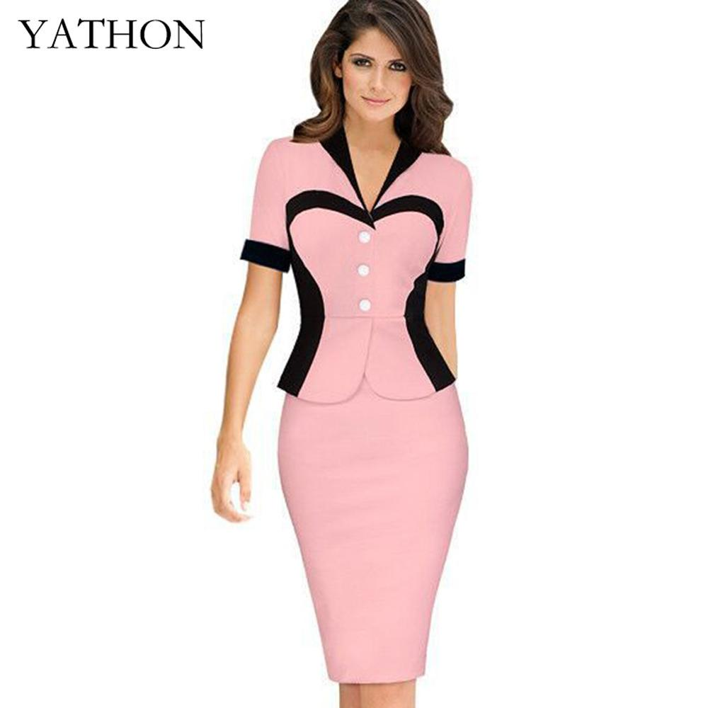 YATHON False two Heart Pattern Formal Office Work Pencil Dress For ...