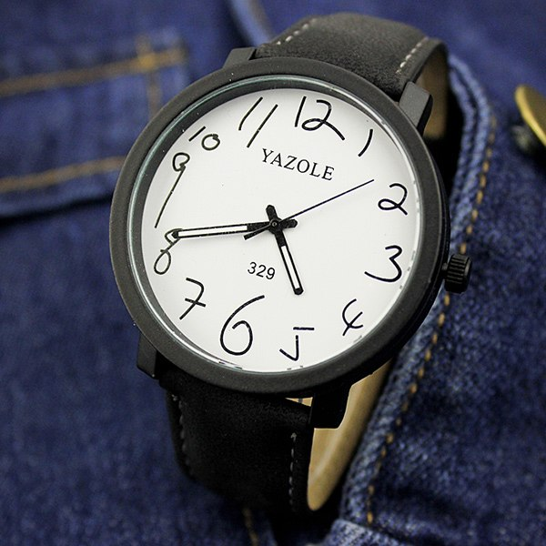 eef35aaa9c7 YAZOLE Fashion Casual Quartz Wristwatch Leather Strap Big Dial Simple Mens  Watches Top Brand Luxury Clock