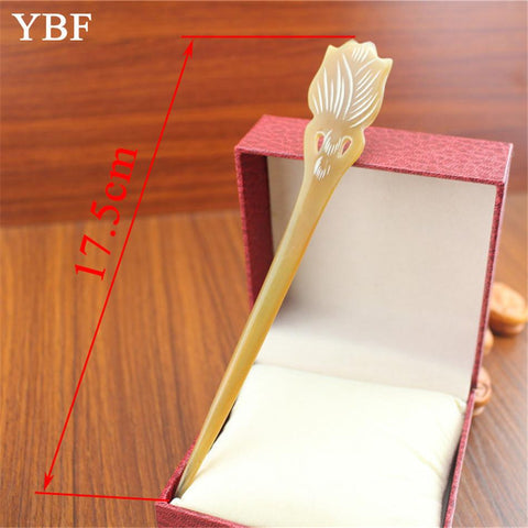 YBF NEWEST Yellow Cattle Horn Stick Flower Tulips Hair Pin Luxurious Hair Jewelry festival Gift Bride Wedding Bridal Accessories