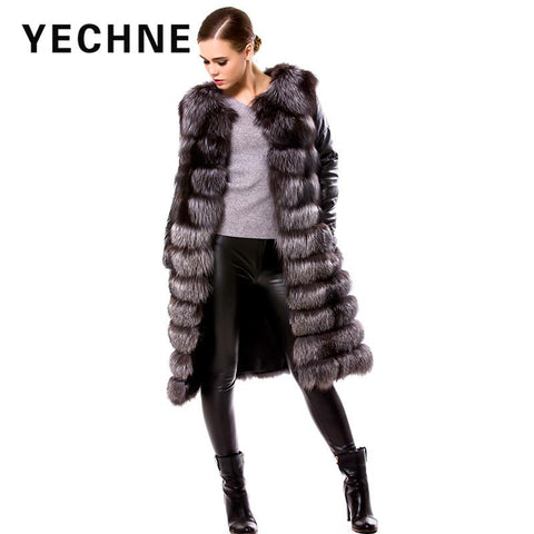 YECHNE New Style Detachable Real Genuine Leather Sleeve Silver Fox Fur Winter Long Coat Jacket for Women Vest Waistcoat