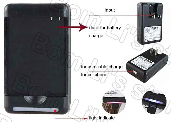 YIBOYUA battery dock Charger For Nokia BL-4C bl-5C 6C BL-5B 6820 6822 7600  3100 3120 3660 USB Output usb Travel Wall charger