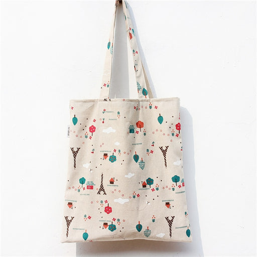 YILE  Cotton Linen Shopping Tote Shoulder Carrying Bag Eco Reusable Bag Printed Tree Towel NEW L018