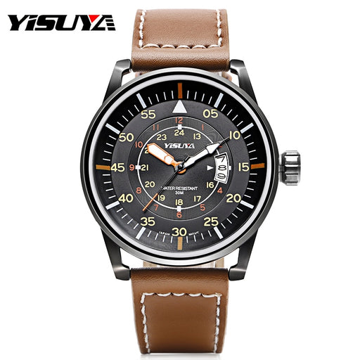 YISUYA 30 ATM Water Resistant Mens Watches Genuine Leather Band Aviator Clock Casual Sports Japan Quartz Movement Date Relogios