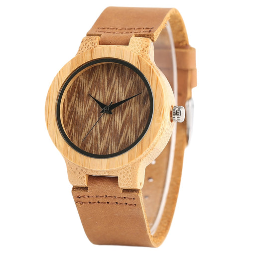 YISUYA Bamboo Wood Ladies Watches Analog Genuine Leather Band Creative Nature Wooden Watch Women Sport Wristwatch Gift For Women