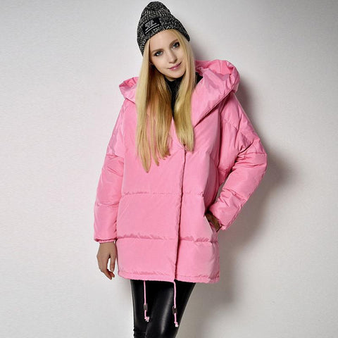 YNZZU New Arrival Winter Coat Casual Pink Jacket quilt down coats Hooded Parka Thick Warm 90% White Duck Down Jackets YO060