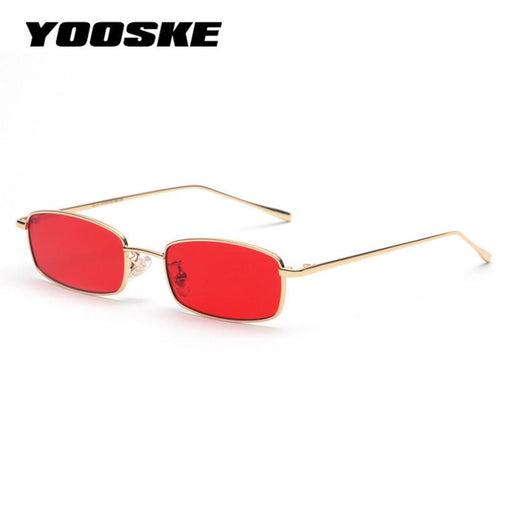 YOOSKE Vintage Sunglasses Men Women Brand Designer Rectangle Metal Sun Glasses Ladies Small Retro Shades Eyewear
