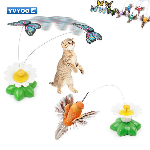 YVYOO Interesting Pet cat toys Creative electric butterfly and electric bird Automatic rotation Cat Teaser Pet cat supplies B89