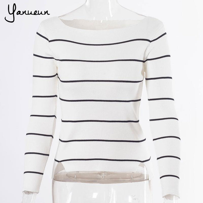 def6026397 Yanueun Korean Fashion Casual Black White Striped Long Sleeve Knit Women  Slim Sweater Pullovers 2017 Autumn