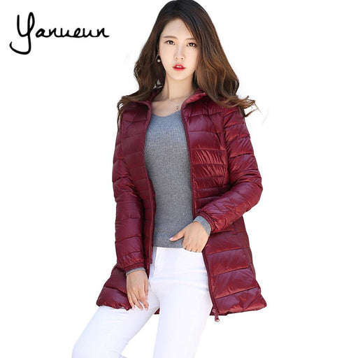 be95c97934e Yanueun Korean Fashion Warm Winter long Jacket Women Coat Thin Brand 90%  White Duck Down